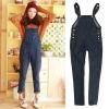 Ouremu ++สินค้าพร้อมส่งค่ะ++ชุดเอี้ยมกางเกงขายาวเกาหลี ผ้ายีนส์เนื้อดีมากค่ะ ทรงสวย สไตล์เอี้ยมแนว Vintage เก๋ – สี Dark Blu