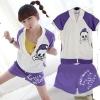 ++สินค้าพร้อมส่งค่ะ++ ชุดเซ็ท Sport set เกาหลี เสื้อ Jacket แขนสั้นเต่อ สกรีนด้านหลัง Vintage + กางเกงขาสั้น สกรีนตัวอักษร น่ารักมากค่ะ - สีขาว/ม่วง