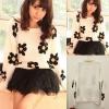 ++สินค้าพร้อมส่งค่ะ++ เสื้อสเวตเตอร์เกาหลี คอกลม แขนยาว ทอลายดอกไม้ daisy น่ารัก มี 3 สีค่ะ - สีขาว (Beige)