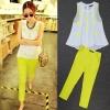 ViVi Party ++สินค้าพร้อมส่งค่ะ++ชุดเซ็ทแฟชั่นเกาหลี เสื้อคอกลม แขนกุด แต่งลูกปัดเม็ดด้านหน้า ชายเสื้อกว้าง+กางเกงขาห้าส่วน เก๋ – สีขาว/เขียว