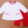 GS-588 (2Y) ชุด Set เสื้อสีขาว ลายริ้วแดง-ชมพู-ดำ กุ๊นริมแดง พร้อมเลคกิ้งสีแดง