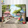 รหัส HB4050374 ภาพระบายสีตามตัวเลข Paint by Number แบบ Seaside scenery ขนาด40x50cm/พร้อมส่ง