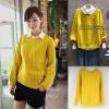 ++สินค้าพร้อมส่งค่ะ++ เสื้อสเวตเตอร์เกาหลี แขนยาว คอกลม ทอลายไชว่เนื้อผ้าหนา สีพื้น มี 2 สีค่ะ – สีเหลือง