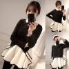++สินค้าพร้อมส่งค่ะ++ เสื้อแขนยาวเกาหลี คอปก แต่งตัวชั้นนอกเป็นเสื้อ wool ตัดต่อชายระบายเป็นเดรสในตัวเดียวกันเก๋มากค่ะ – สีดำ