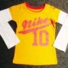 GSH-438 (3Y) เสื้อ Nike สีส้มตัดต่อแขนสีขาว พิมพ์แบรนด์ Nike-10 สีชมพู กุ๊นคอและปักโลโก้ที่แขน สีชมพู