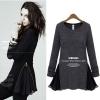 ++สินค้าพร้อมส่งค่ะ++ เสื้อ คอกลม แขนยาว ผ้า knit fleece เนื้อดีมาก แต่งระบายข้างด้วยชีฟองเก็บซ่อนได้ด้วยซิบสองข้างเก๋ – สีดำ