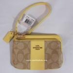 กระเป๋า Coach Double Zipper Pocket Wristlet Khaki/Midnt Sig Coated Canvas F52853 IMDRS