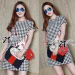 Lady Andy Edgy Surreal Print and Embellished Houndstooth Dress