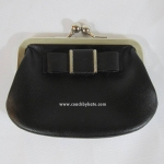 Coach Leather Darcy Bow Framed Coin Purse Wallet F62372 SVBK สีดำ