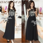 Lady Sara Vintage Glamourous Chiffon Lace Maxi Dress