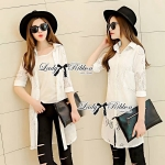 Lady Lindsey Insert Lace Cotton Long Shirt in White