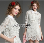 Lady Jessica Sweet Preppy Lace Shirt Dress in White