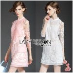 Lady Ashley Royal Sweet Floral Embroidered Organza and Cotton Mini Dress