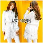 Lady Aurelie Minimal Chic Cotton Long Shirt with Lace Trim