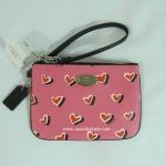 กระเป๋าคล้องแขน COACH Heart Print Canvas Small Wristlet Wallet Purse F52560 SVP1