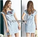Lady Rachel Playful Embroidered Sleeveless Washed Denim Mini Dress