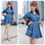 Denim Dress Shirt wt Belt (สีเข้ม)