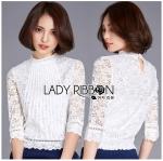 Lady Alessandra White Lace Blouse