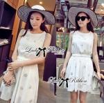 Lady Christen Super Glam Embellished Chiffon Dress (สีขาว)