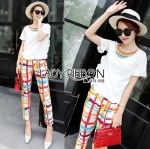 Lady Caroline Summery Frilled Top and Colorful Checked Pants Set with Rainbow Necklace