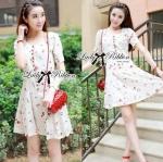 Lady Anna Sweet Mini Berries Print Chiffon Dress