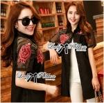 Lady Marlene Dramatic Roses Embroidered with Tassels Shirt Dress (สีดำ)