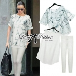 Lady Kate Marble Chiffon Top and White Leggings Set