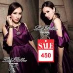 Lady Grace, Silk Off-shoulder Mini dress (สีม่วง)