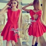 Max Mara Lady Minnie Sweet Cut Out Back Ribbon Dress (สีแดง)