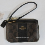 กระเป๋า Coach Double Zipper Pocket Wristlet Khaki/Midnt Sig Coated Canvas F52853 IMAA8