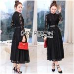 Lady Mandy Modern Feminine Long Sleeve Black Lace Midi Dress with Belt