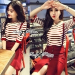 Lady Eva Sexy Glam Striped Overall Knit Dress in Burgundy set