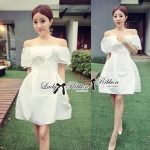 Lady Claire Rose Embroidered Off-Shoulder Layer Dress in White