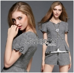 Lady Grace Smart Casual Check Printed Blouse and Shorts Set