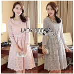 Lady Aliza Classic Vintage Plain Lace Dress with Belt