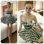 Lady Nicole Sexy Glam Strapless Houndstooth Dress