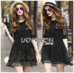Lady Elena Feminine Cross Dot Printed Chiffon and Knitted Dress