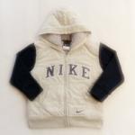 ฺBSH-194 (4Y) เสื้อกันหนาว Nike สีเทา แขนกรมท่า ปักแบรนด์ Nike สีกรมท่า-ขาว ด้านในบุขนแกะแท้ 100% สีเทา