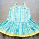 GD-266 (18-24M) ชุดกระโปรงผ้าทอสายเดี่ยว ลายทางสีฟ้า-เขียว-เหลือง-ม่วง ตัดต่อรอบสะโพก ระบายริมสีเหลืองจุดขาว