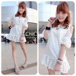 Korean Cut-Shoulder Lace Dress by ChiCha's