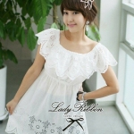 Lady Sugar Sweet and Sour Off Shoulder Embroidery Cotton Dress