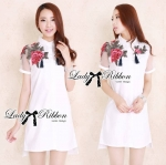 Lady Marlene Dramatic Roses Embroidered with Tassels Shirt Dress (สีขาว)
