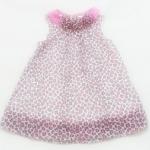 GD-178 (18M) ชุดกระโปรงผ้าชีฟอง Starting Out (Mini Skirt) ลายเสือชมพู-ดำ คอปก จับจีบ ติดดอกไม้