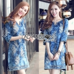 Lady Lizzy Sweet Bohemian Floral Embroidered Denim Dress