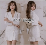 Lady Annie Elegant Pure White Pleated Skirt Suit Dress