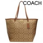 กระเป๋า COACH F34105 SIGNATURE LARGE COH TAXI TOTE สีน้ำตาลอ่อน
