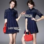 Lady Jenette Smart Sexy Insert Lace Denim Shirt Dress