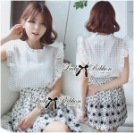 Lady Anna Marie Sleeveless Blouse in White and Flower Print Skirt Set