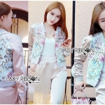 Lady Sabina Street Style Chic Flower Embroidered Pink Satin Bomber Jacket