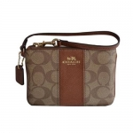 กระเป๋า COACH F52860 IMBDX Signature C Khaki Pink PVC Leather Wristlet สีน้ำตาลอ่อน